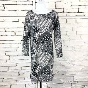 Ann Taylor LOFT Print Long Sleeve ALine Dress 1973